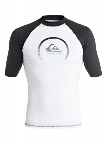 LYCRA Quiksilver Active Short Sleeve Rash Vest WHITE